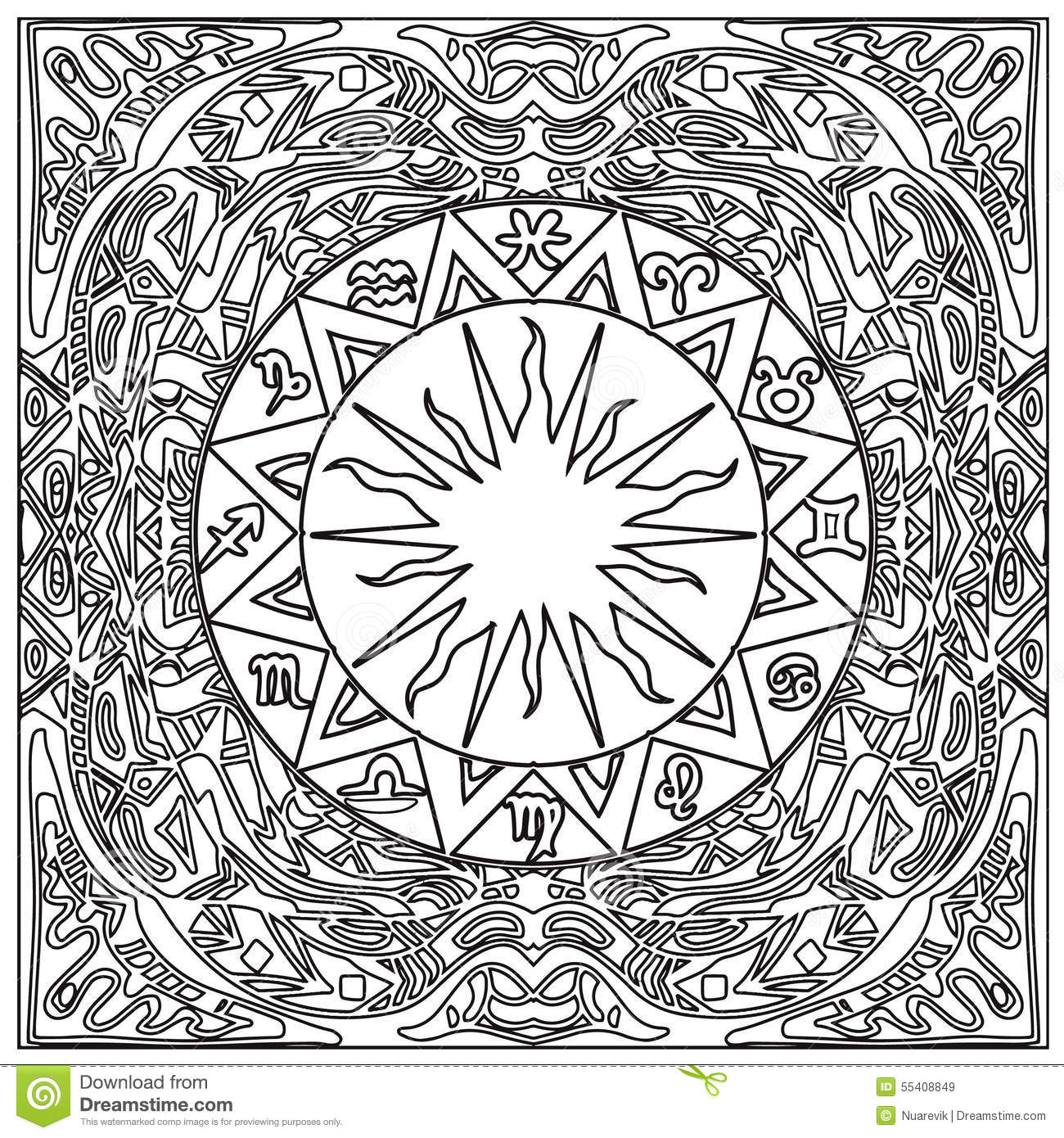 Aztec tribal coloring frame zentangle stock illustration for Tribal coloring pages