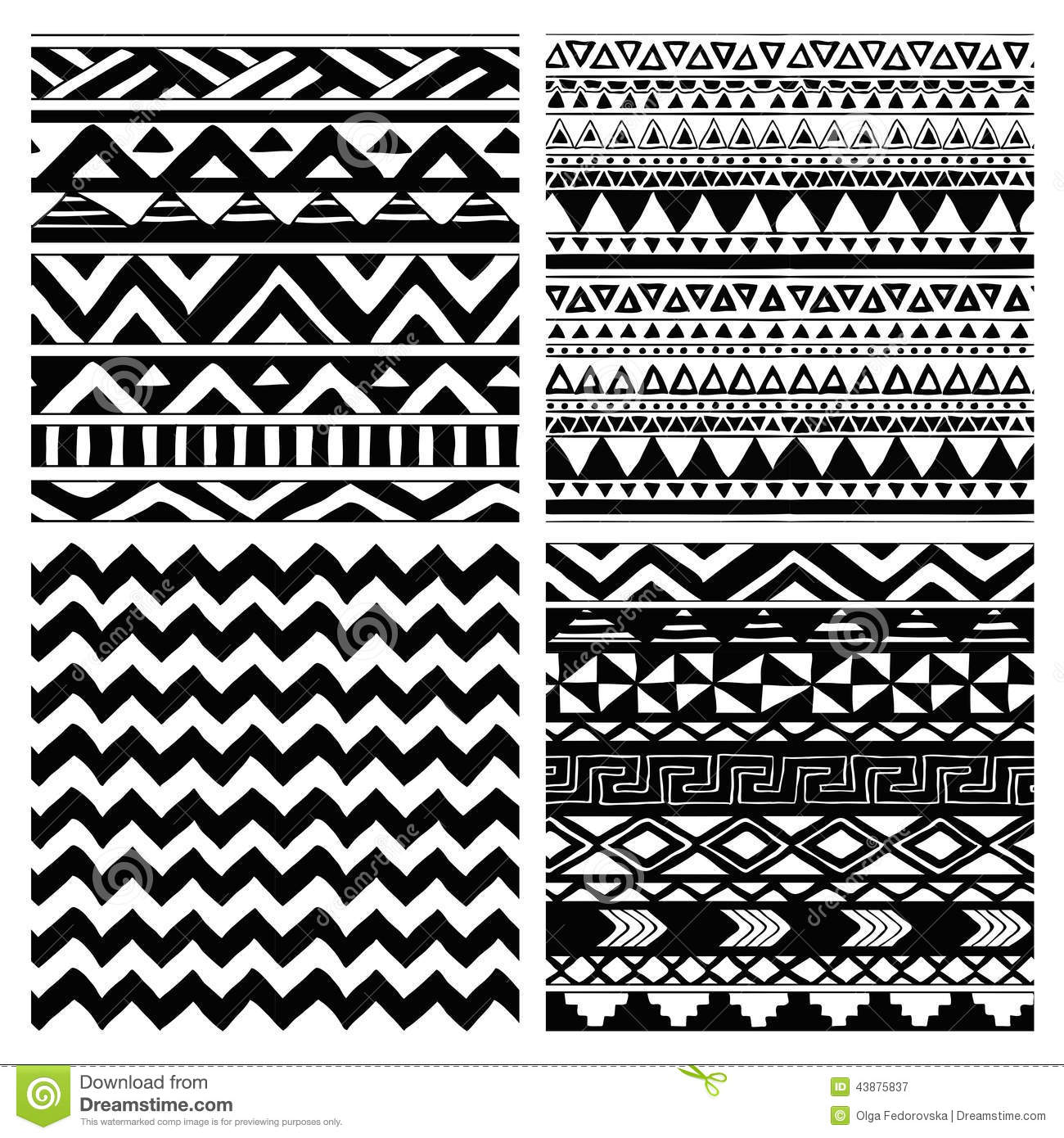 Aztec Tribal Seamless Black And White Pattern Set Stock