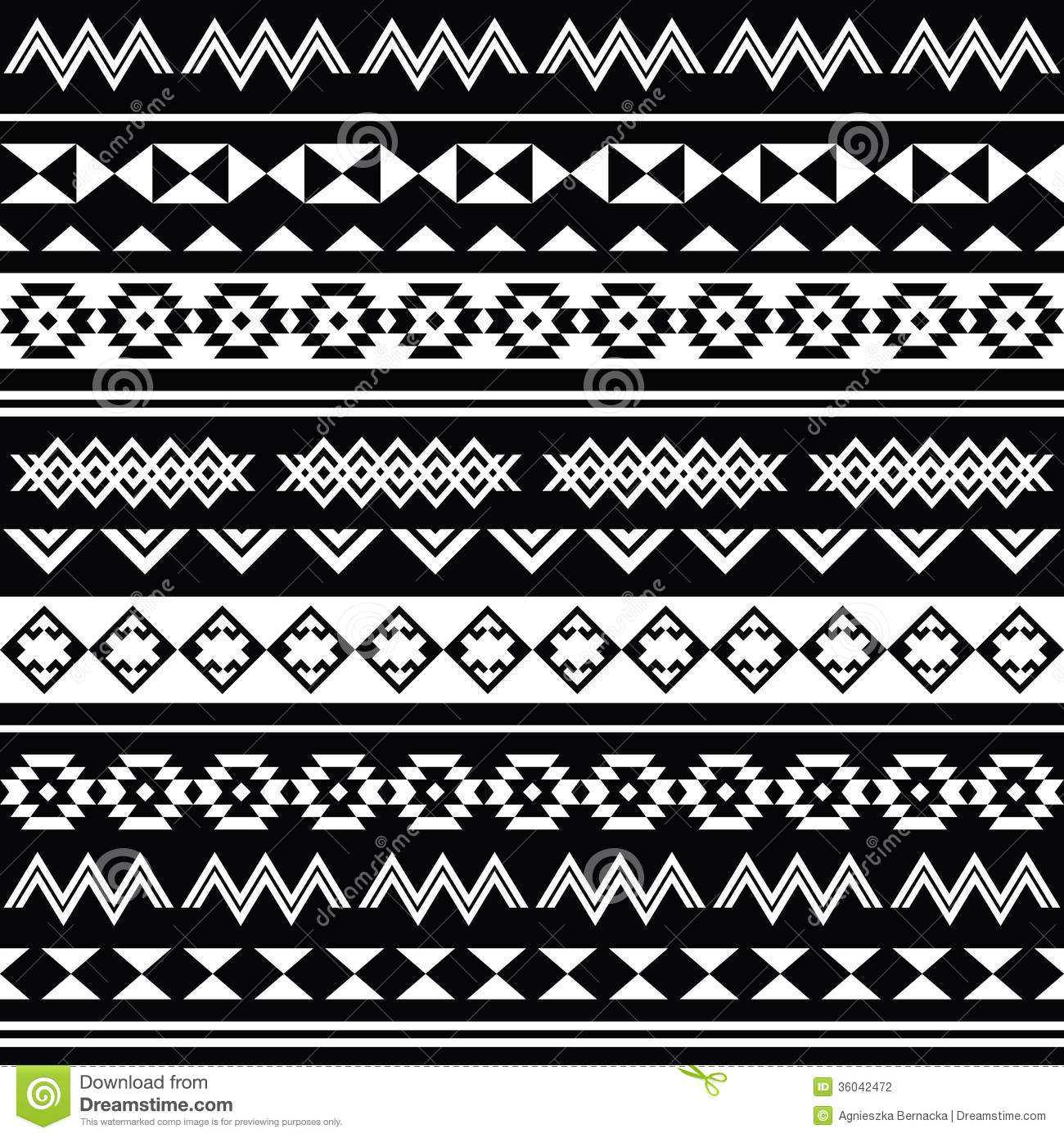 Aztec Tribal Seamless Black And White Pattern Stock ...