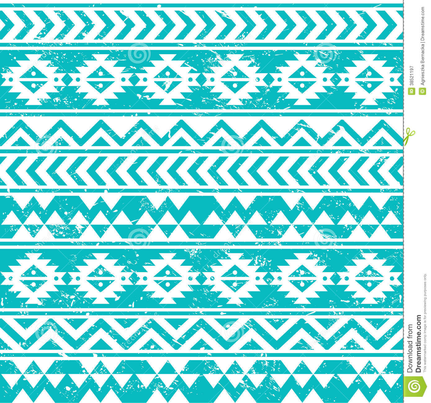 Aztec Tribal Seamless Grunge White Pattern On Blue ...