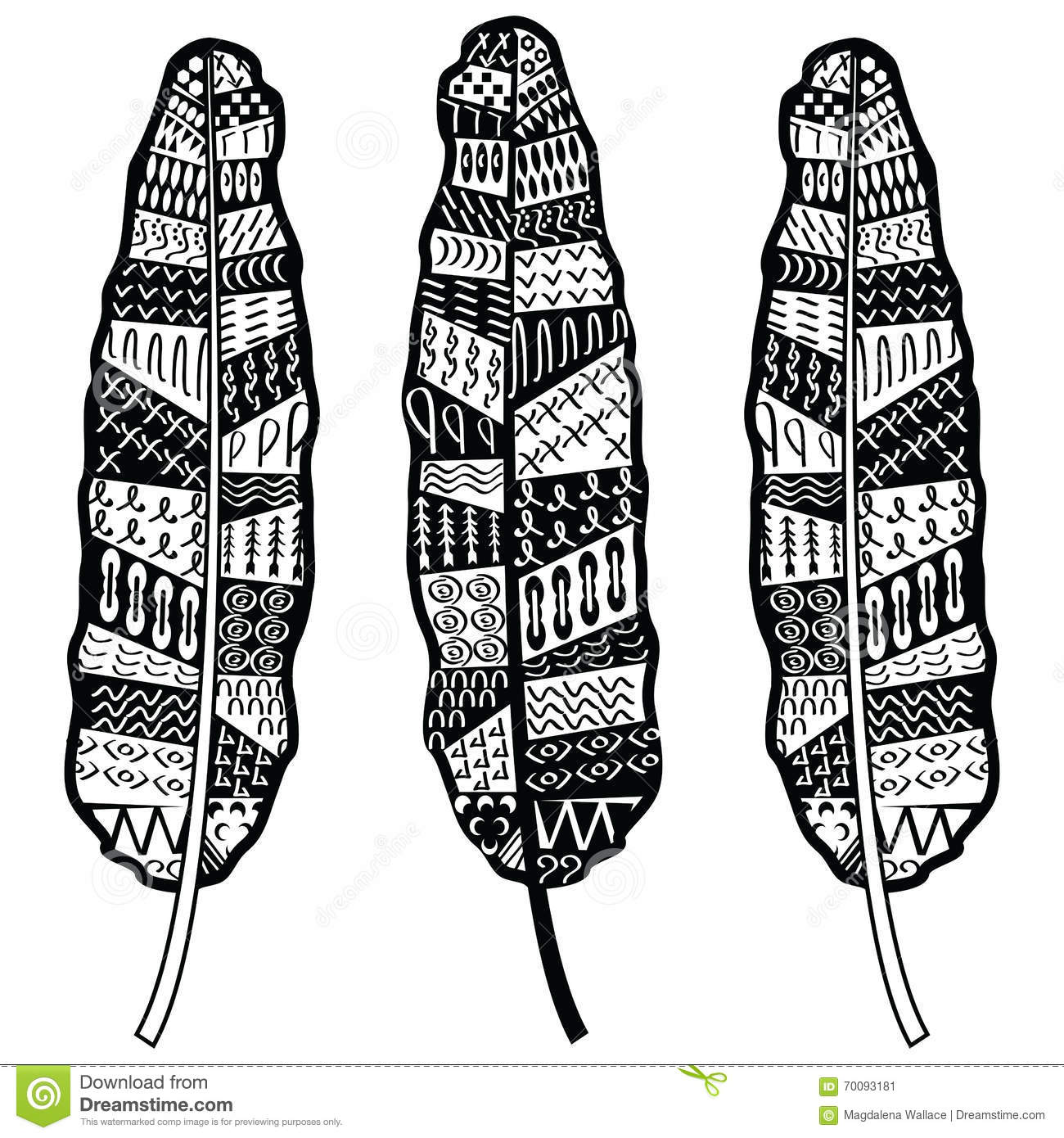 Native american ornaments - Aztec Zentangle Style Feathers Symbolizing Native American Culture In Black And White With Tribal Ornaments Stock