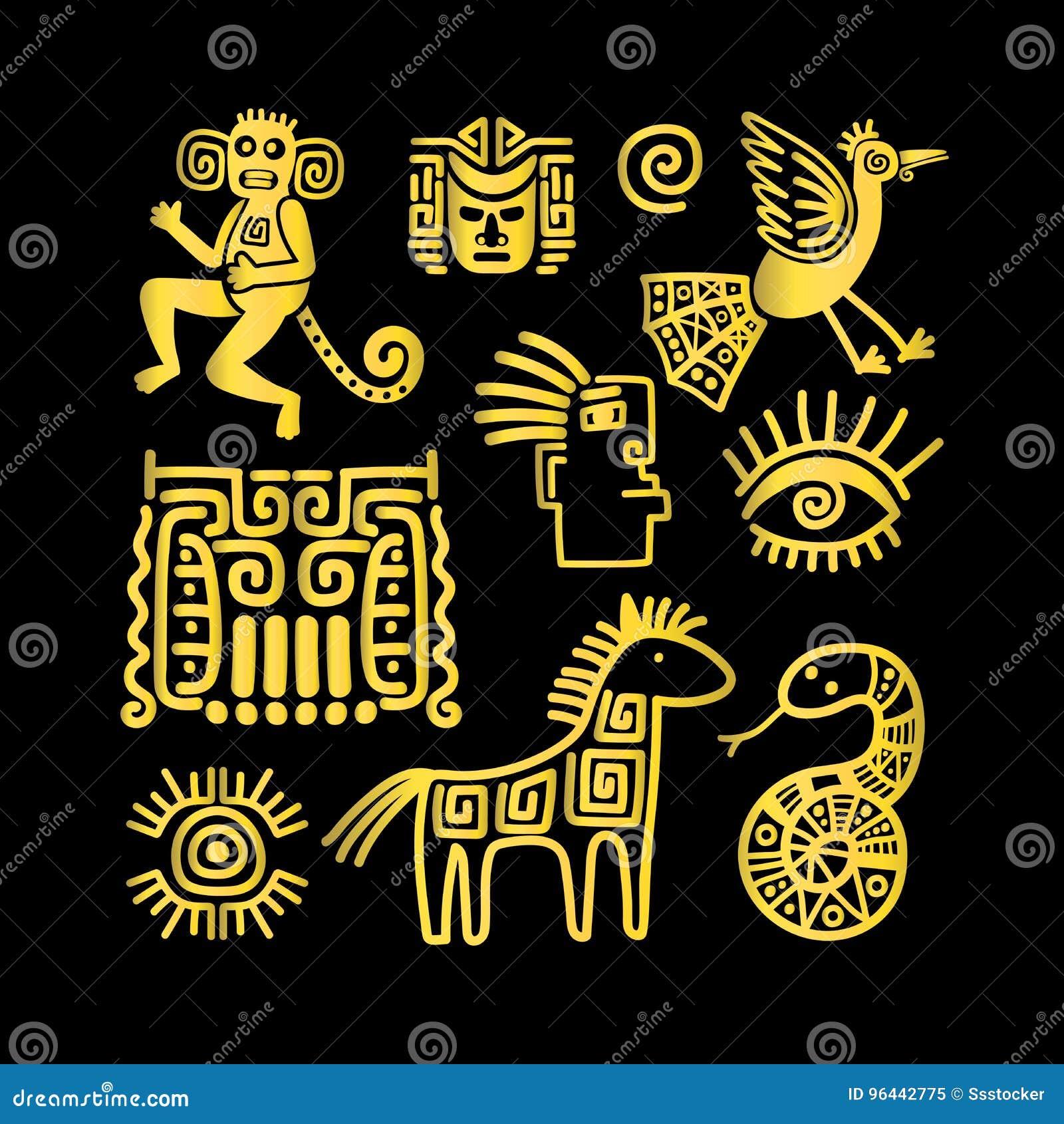Azteków antyczni zwierzęcy złoci symbole