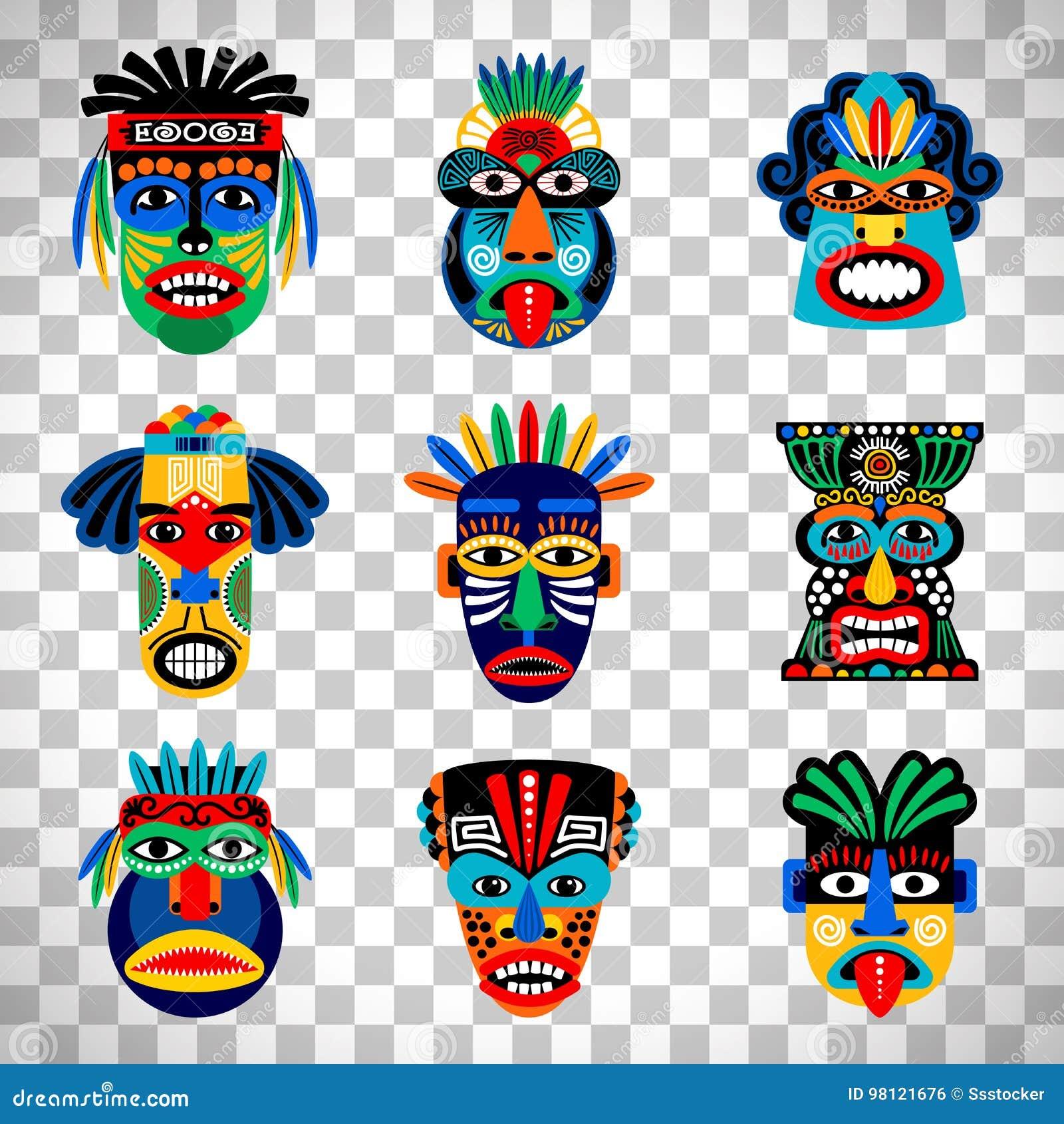 Aztek maska ustawiająca na przejrzystym tle