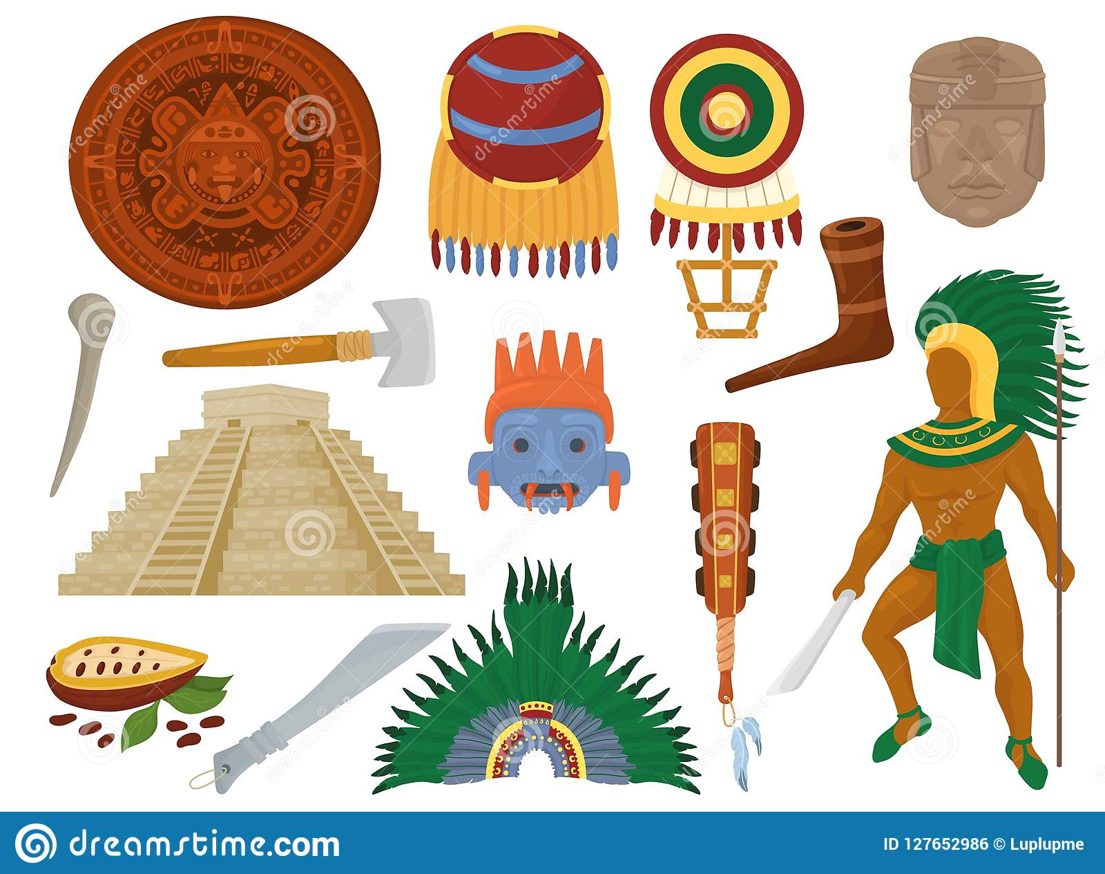 Aztek wektorowa meksykańska antyczna kultura w Meksyk i majowie obsługujemy charakteru majski cywilizaci ilustracyjny ustawiający