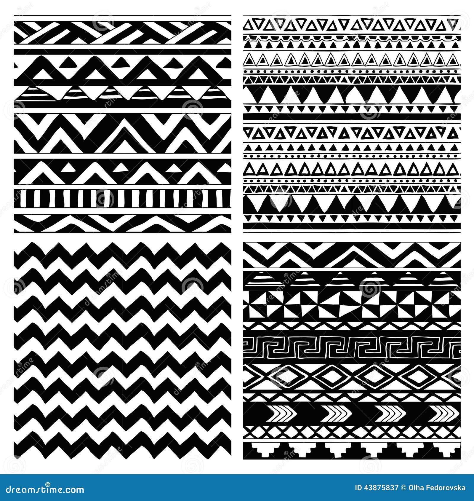 Azteka wzoru Plemienny Bezszwowy Czarny I Biały set