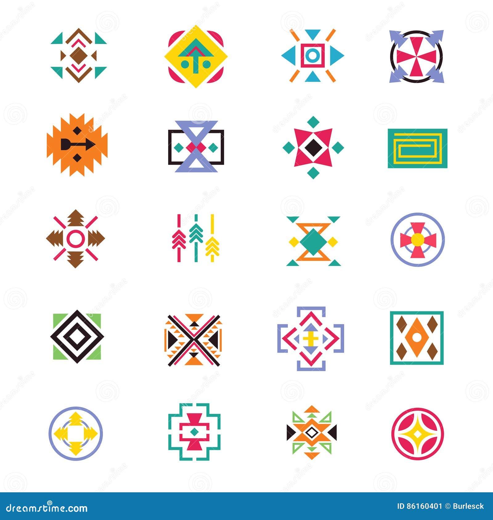 aztekische ethnieartzeichen indianische navajokunst