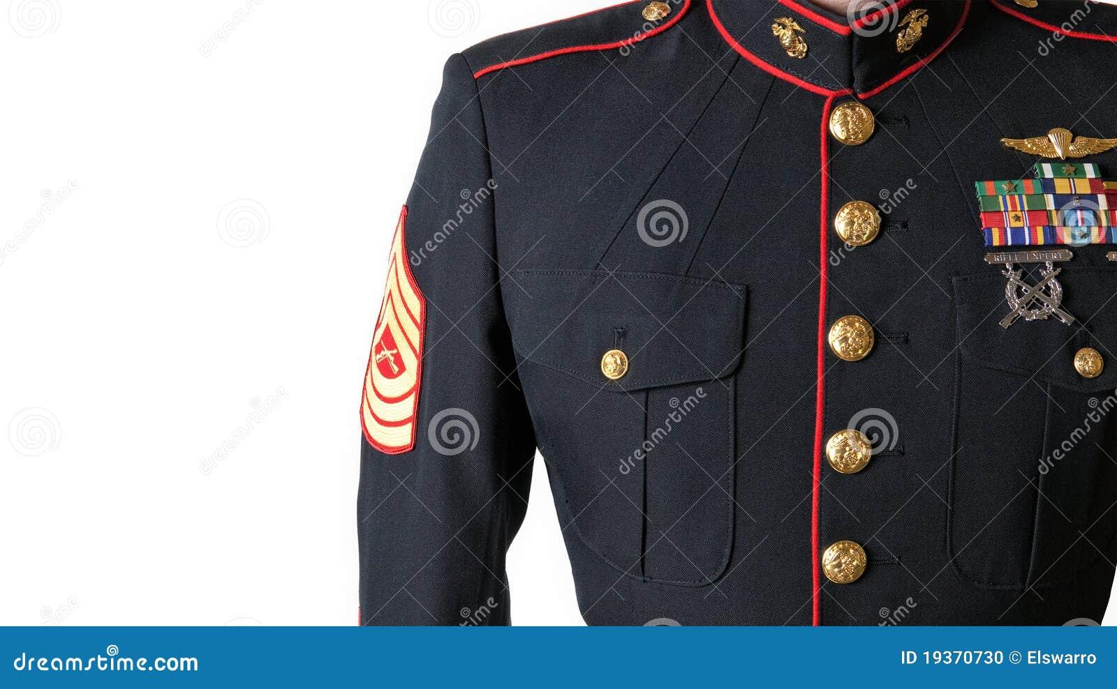 Azuis de vestido do USMC uniformes