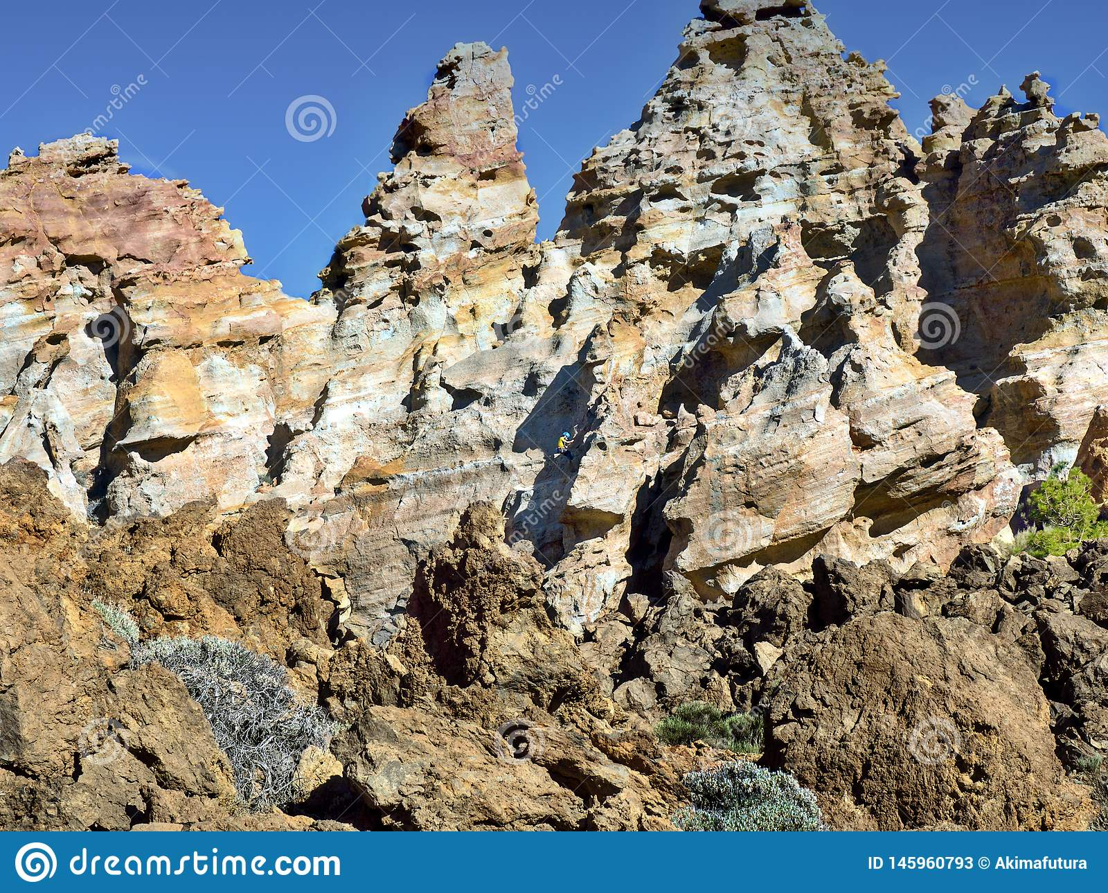 The `Azujelos` on tenerife, colorful rocks in turquoise, rust-red, pink and vanilla in bizarre forms at 2300 m altitude