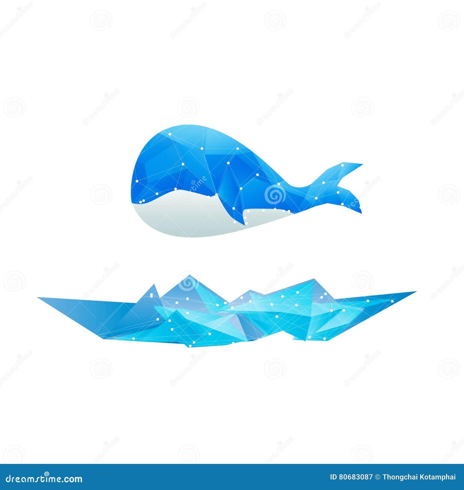 Azul aislado ballena abstracta del diseño del polígono de los vectores