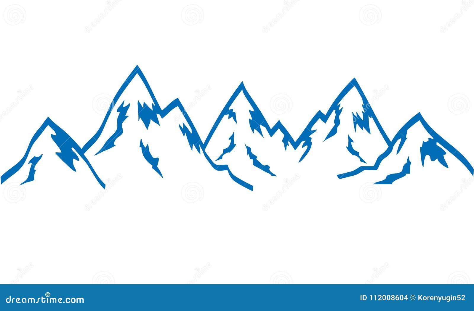 Azul del icono del drenaje de la mano de las montañas de la silueta en el blanco, vector común