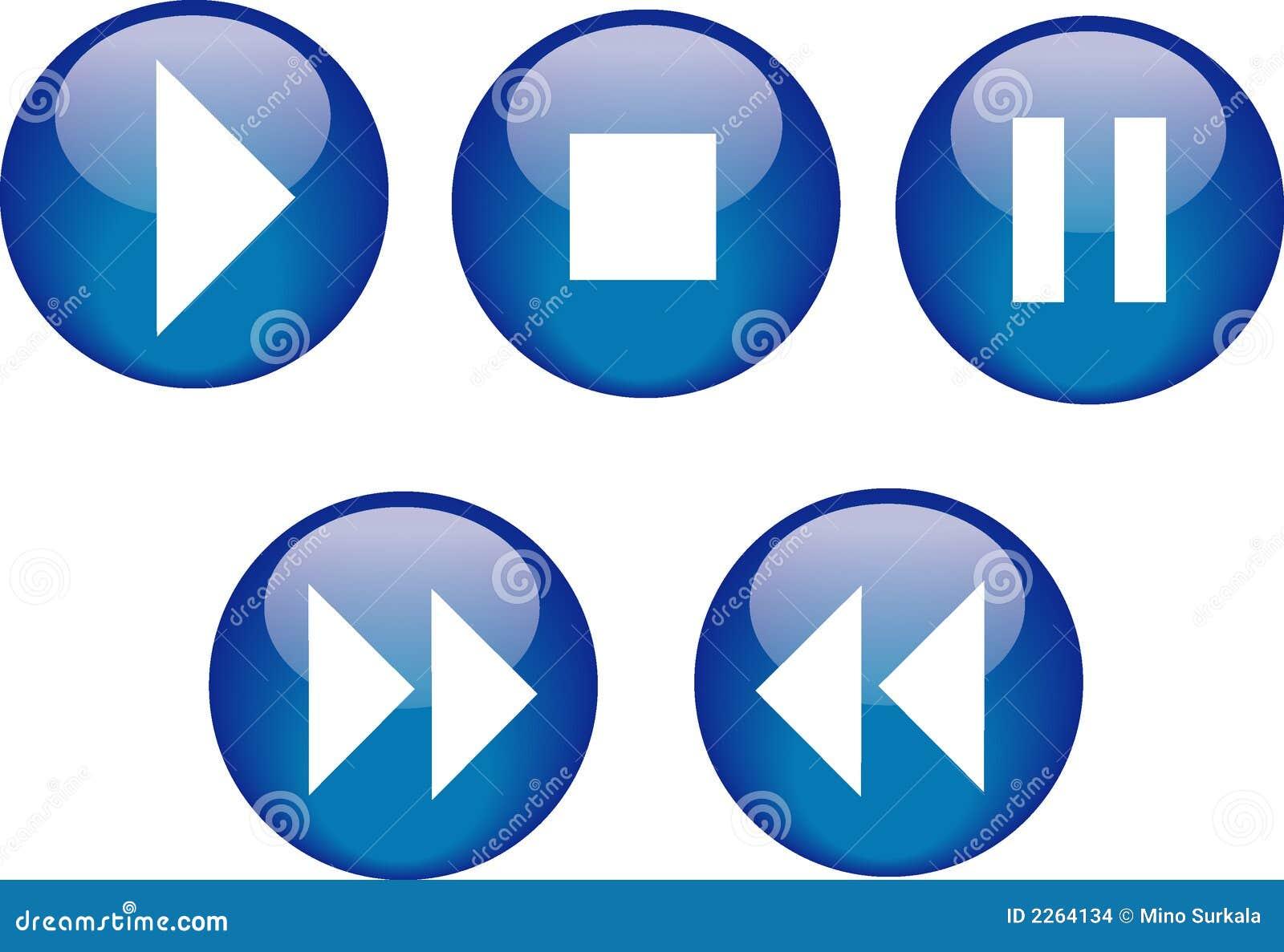 Azul del lector de cd de los botones