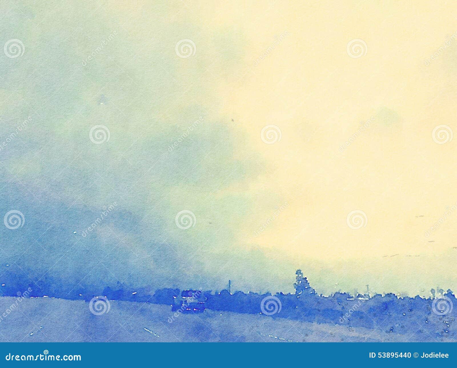 Azul del paisaje y de cielo de la acuarela con puesta del sol