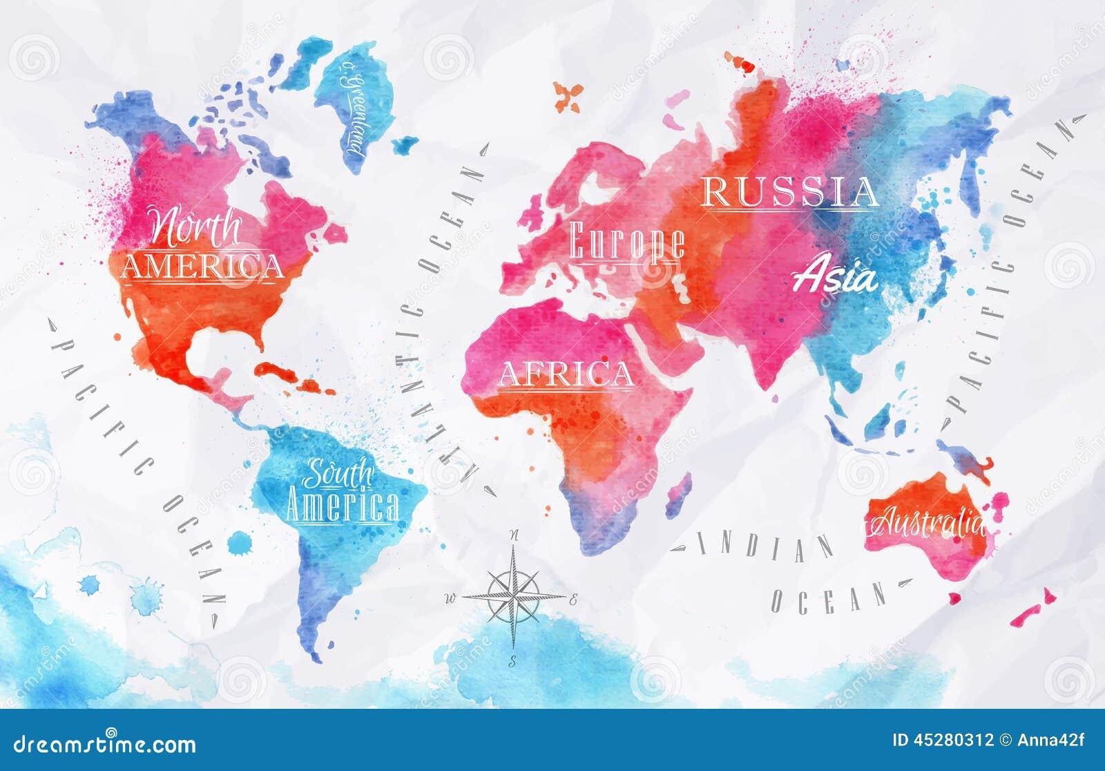 Azul del rosa del mapa del mundo de la acuarela - Papel pintado mapa del mundo ...
