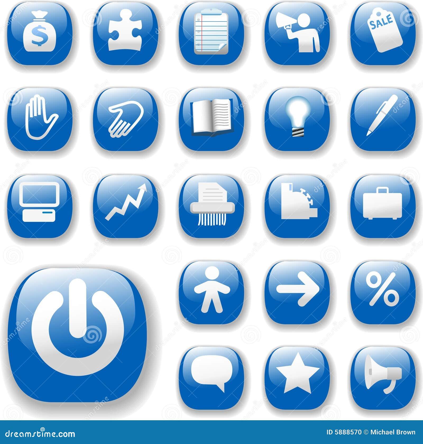 Azul determinado de los iconos del asunto del Web site brillante del Internet