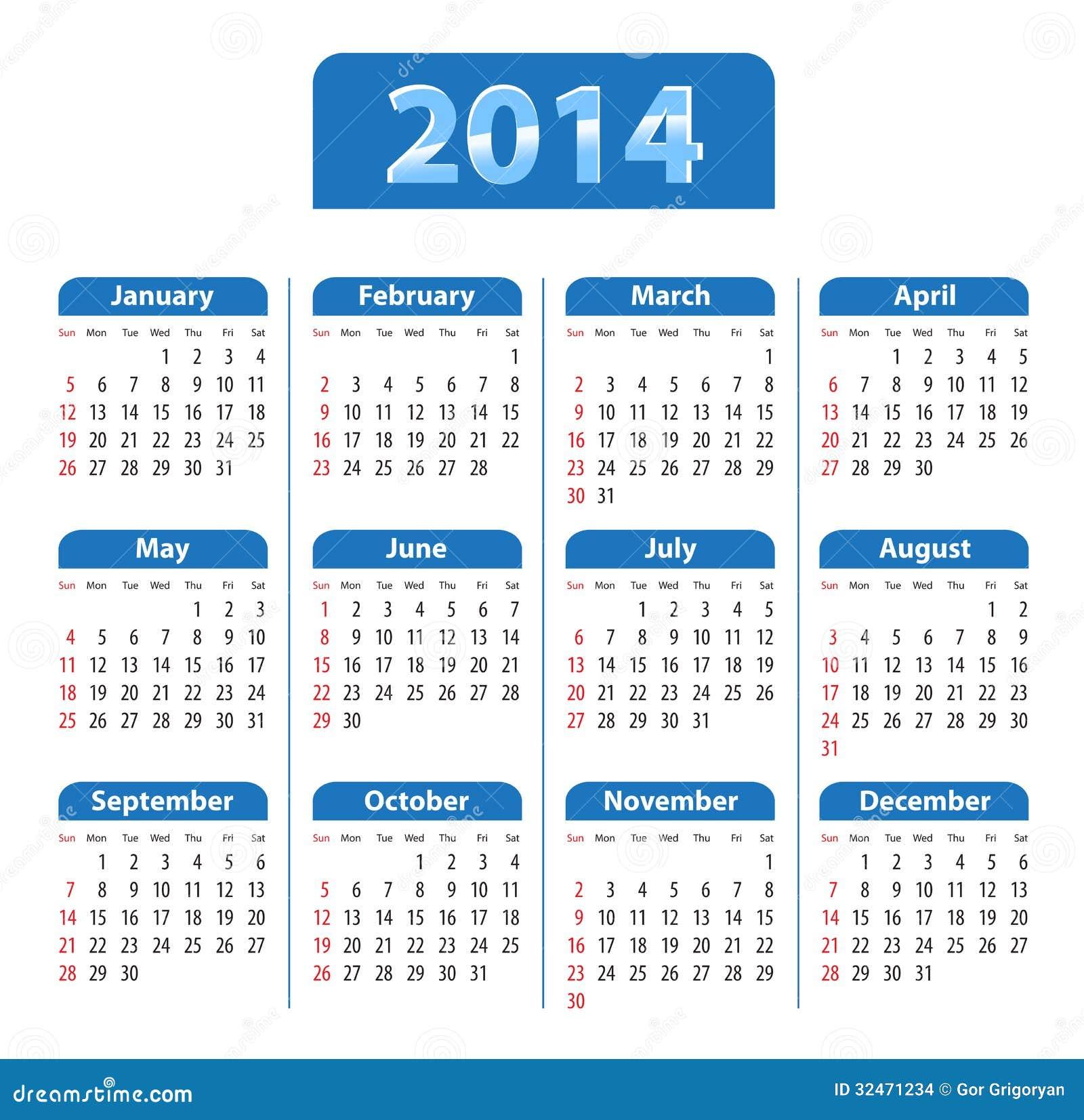 Calendário lustroso azul para 2014. Domingos primeiramente ...