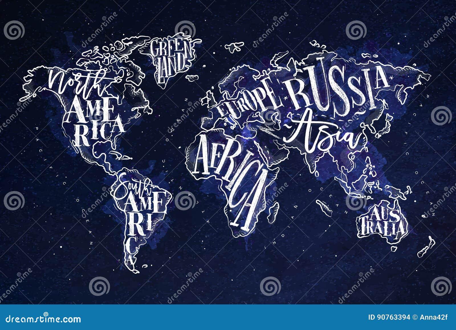 Azul do vintage de Worldmap