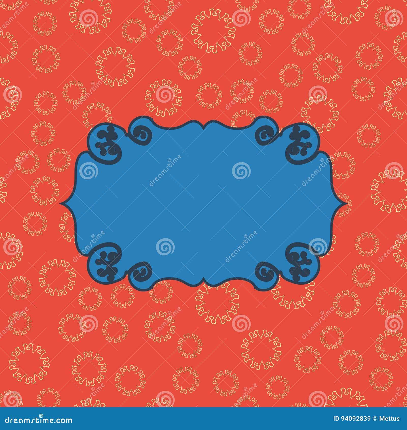 Azul en fondo inconsútil del modelo del vintage rojo Diseño sin fin del ejemplo del vector Marco geométrico abstracto stylish