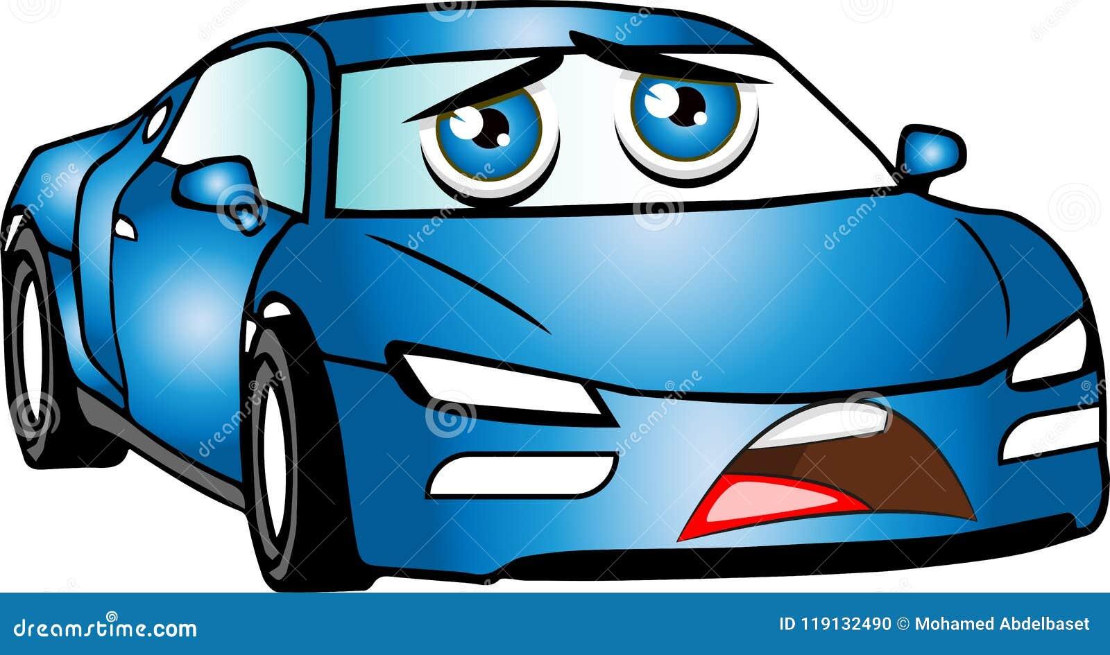 azul engraçado carro colorido dos desenhos animados ilustração stock