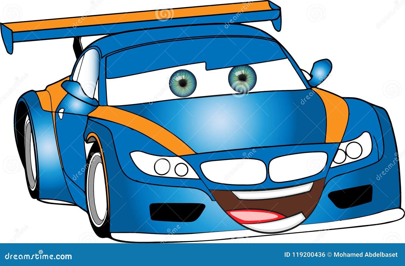 Azul Engracado Carro Colorido Dos Desenhos Animados Ilustracao