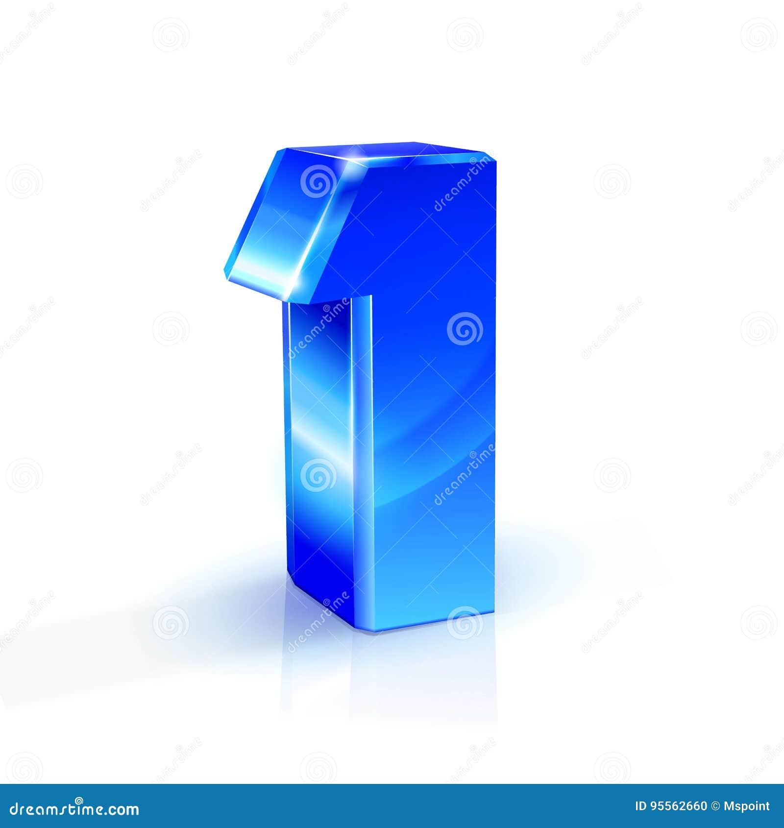 Azul lustroso um 1 número ilustração 3d no fundo branco