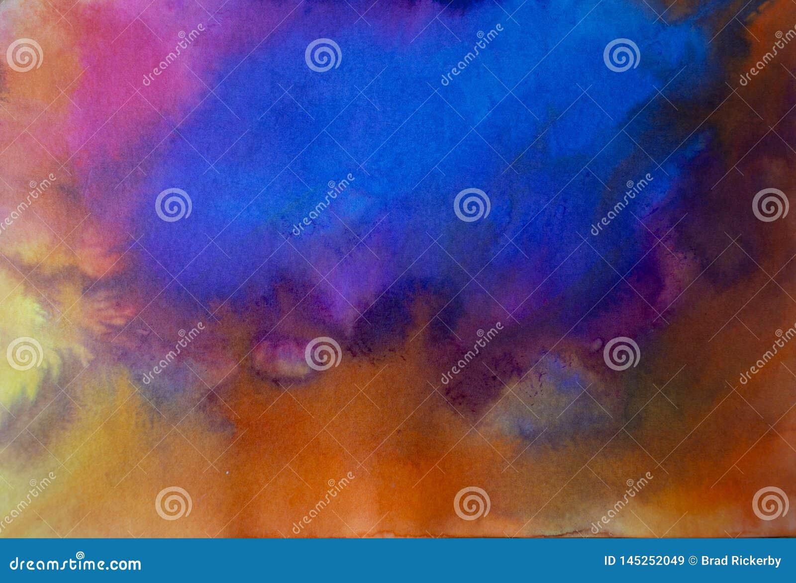 Azul moderno acrílico da arte contemporânea do sumário sobre a laranja
