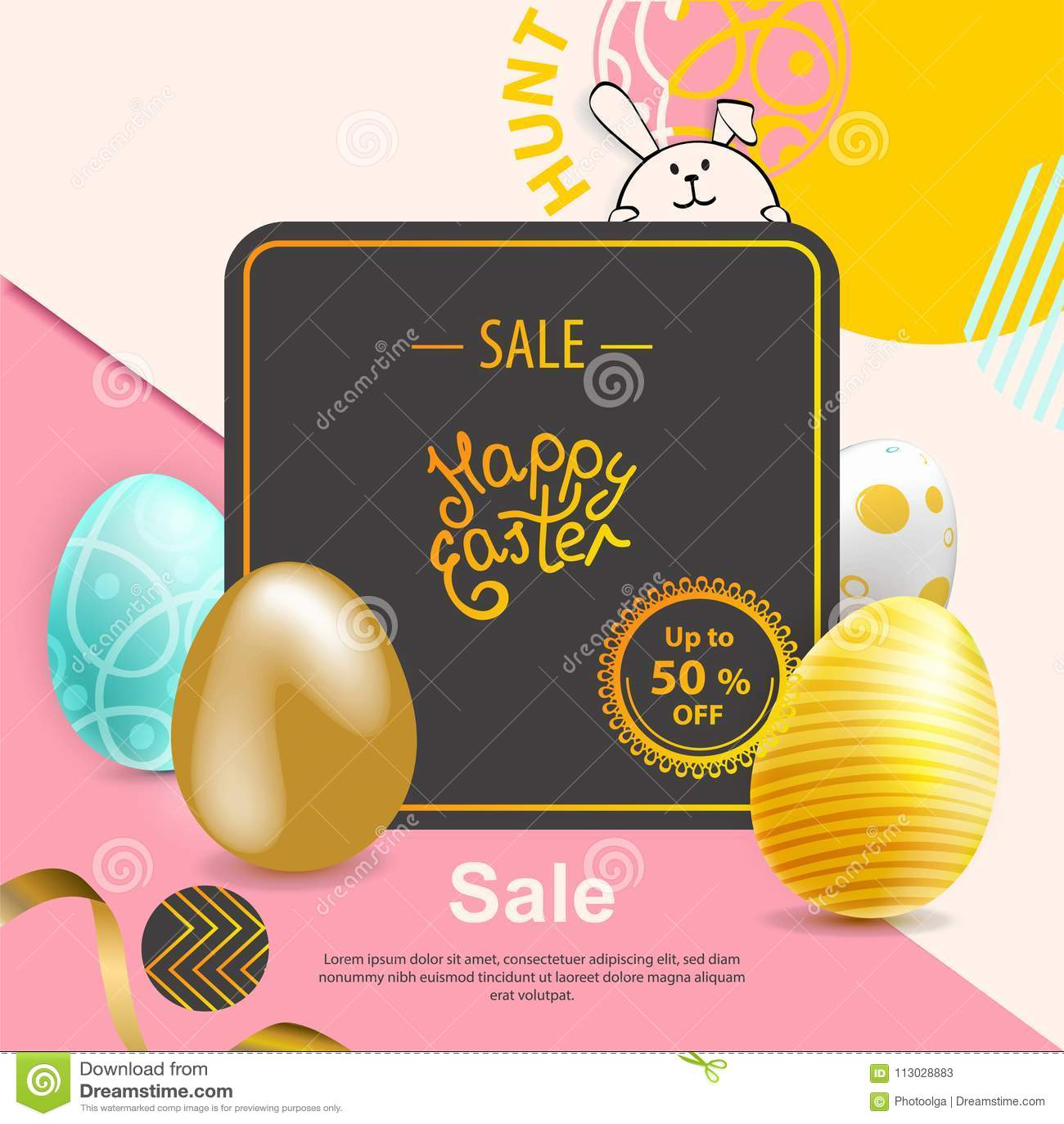 Azul, oro, amarillo, huevos de Pascua realistas en fondo abstracto rosado amarillo minimalism Bandera de la venta