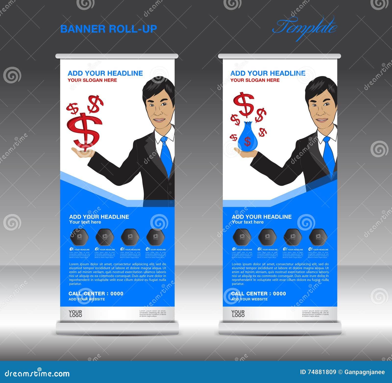 Azul role acima o molde da bandeira e o homem de negócio