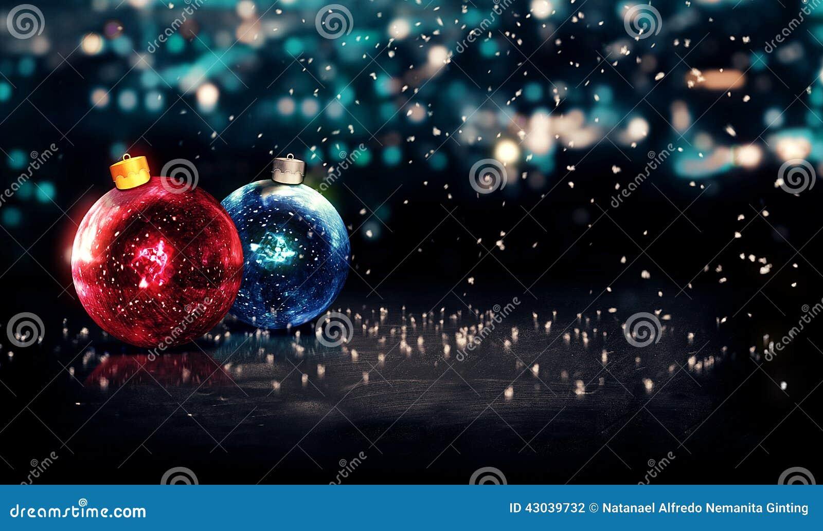 Azul vermelho do fundo 3D bonito de Bokeh da noite de Natal das quinquilharias