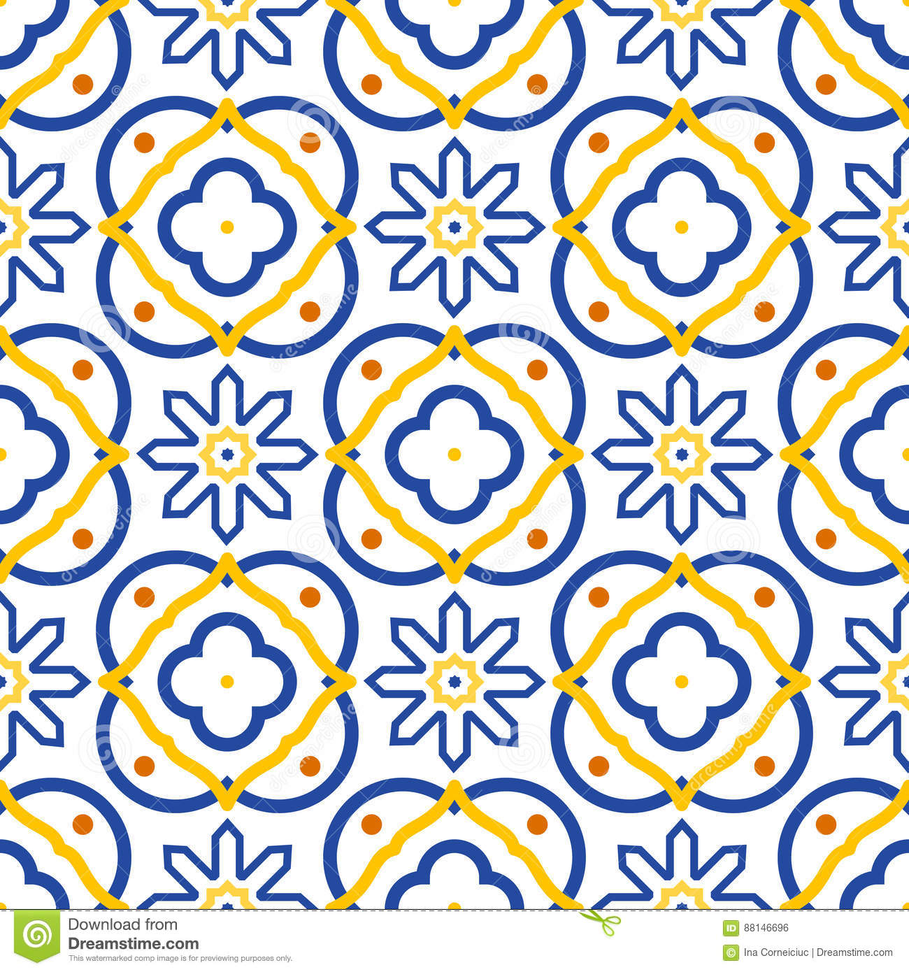 Azulejos Blue And White Mediterranean Seamless Tile Pattern. Stock ...