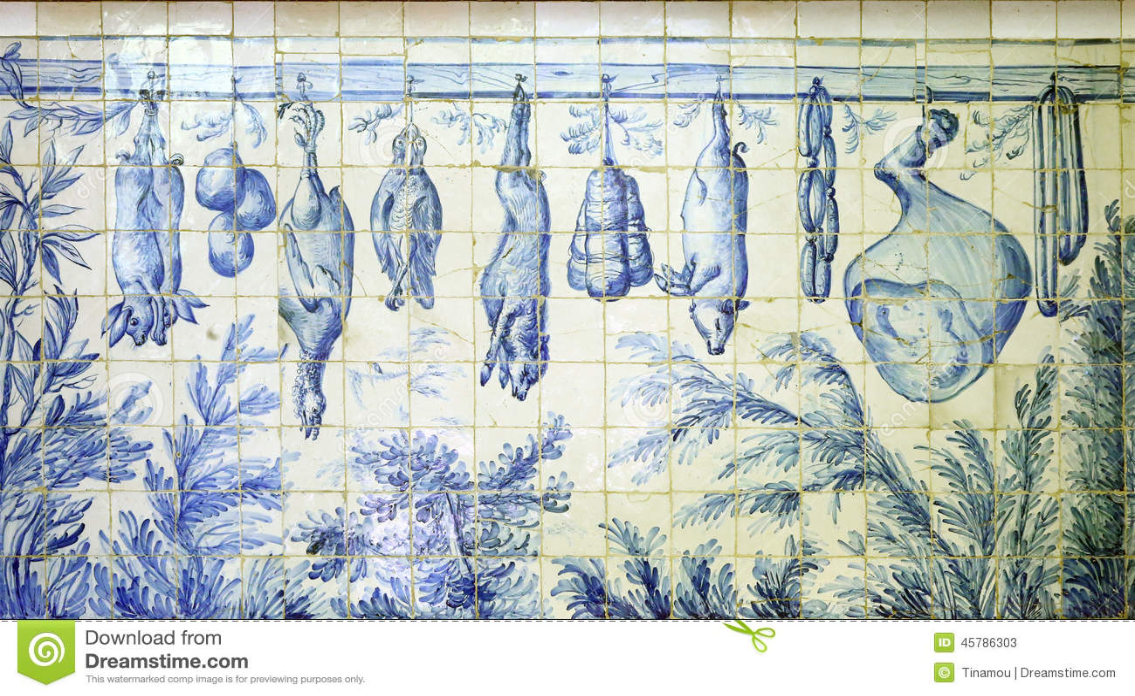 azulejos das lebensmittel in altem portugiesischem der metzgerei darstellt stockbild bild. Black Bedroom Furniture Sets. Home Design Ideas