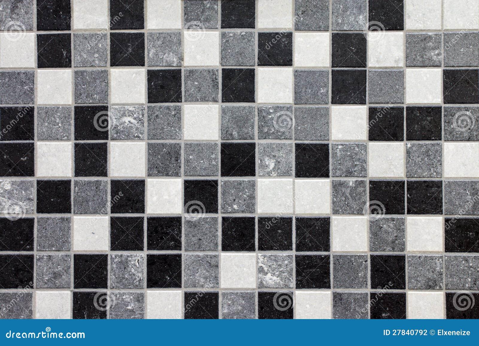 Azulejos de mosaico negros blancos y grises fotograf a de - Azulejo negro ...