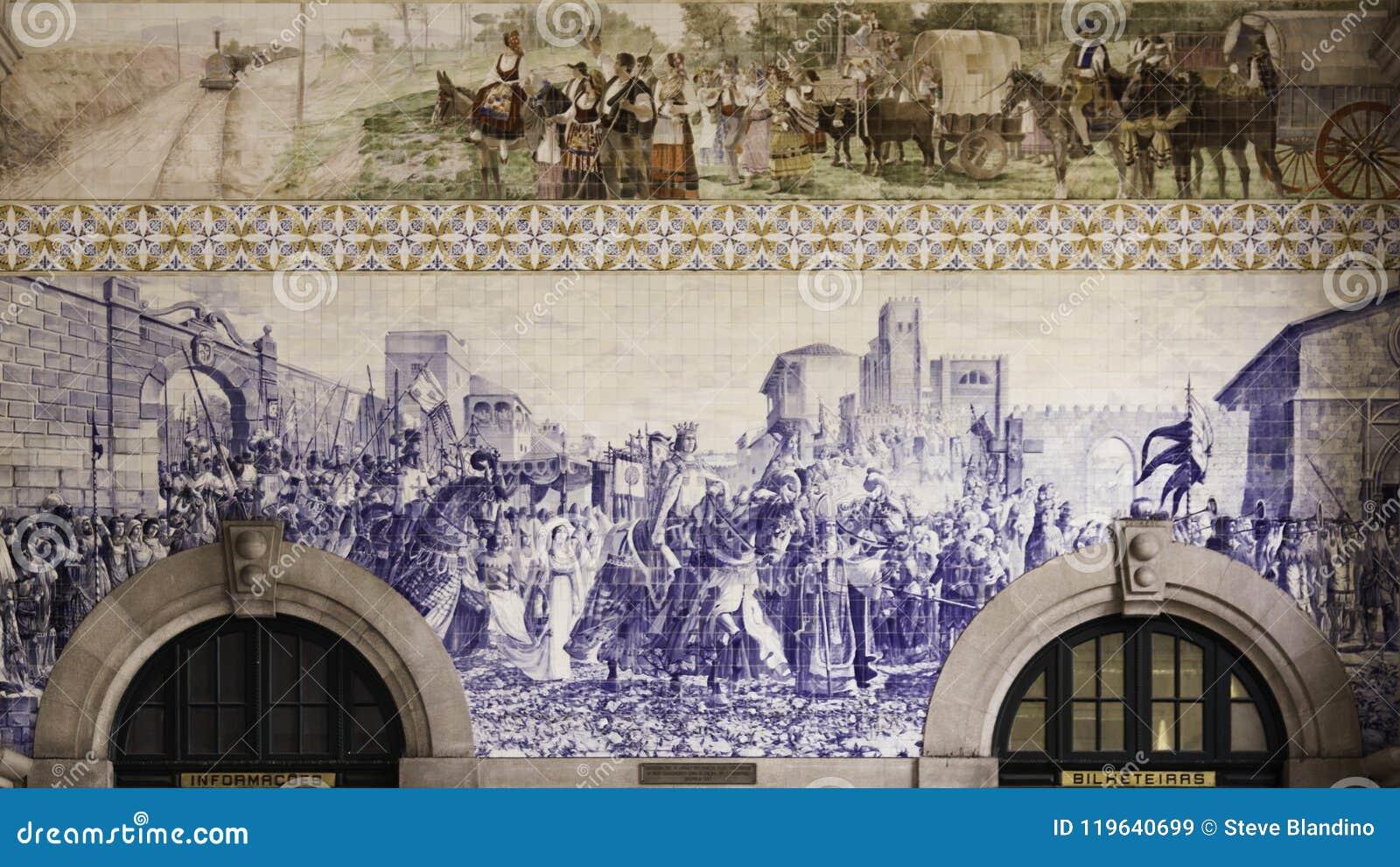 Azulejos en la estación de tren de Oporto