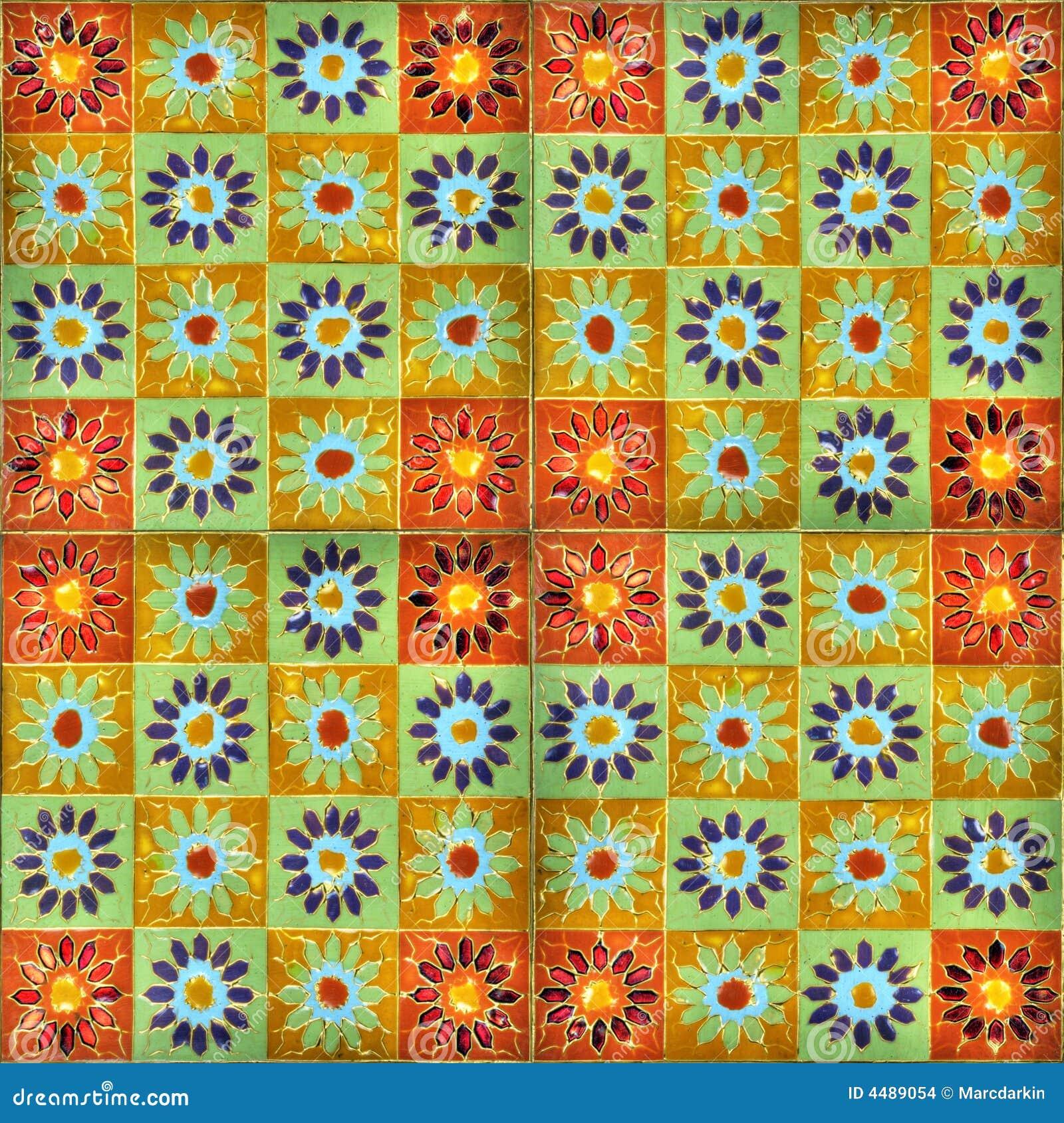Azulejos Para Baño Pintados A Mano:Cuatro azulejos pintados a mano del esmalte que forman un modelo para