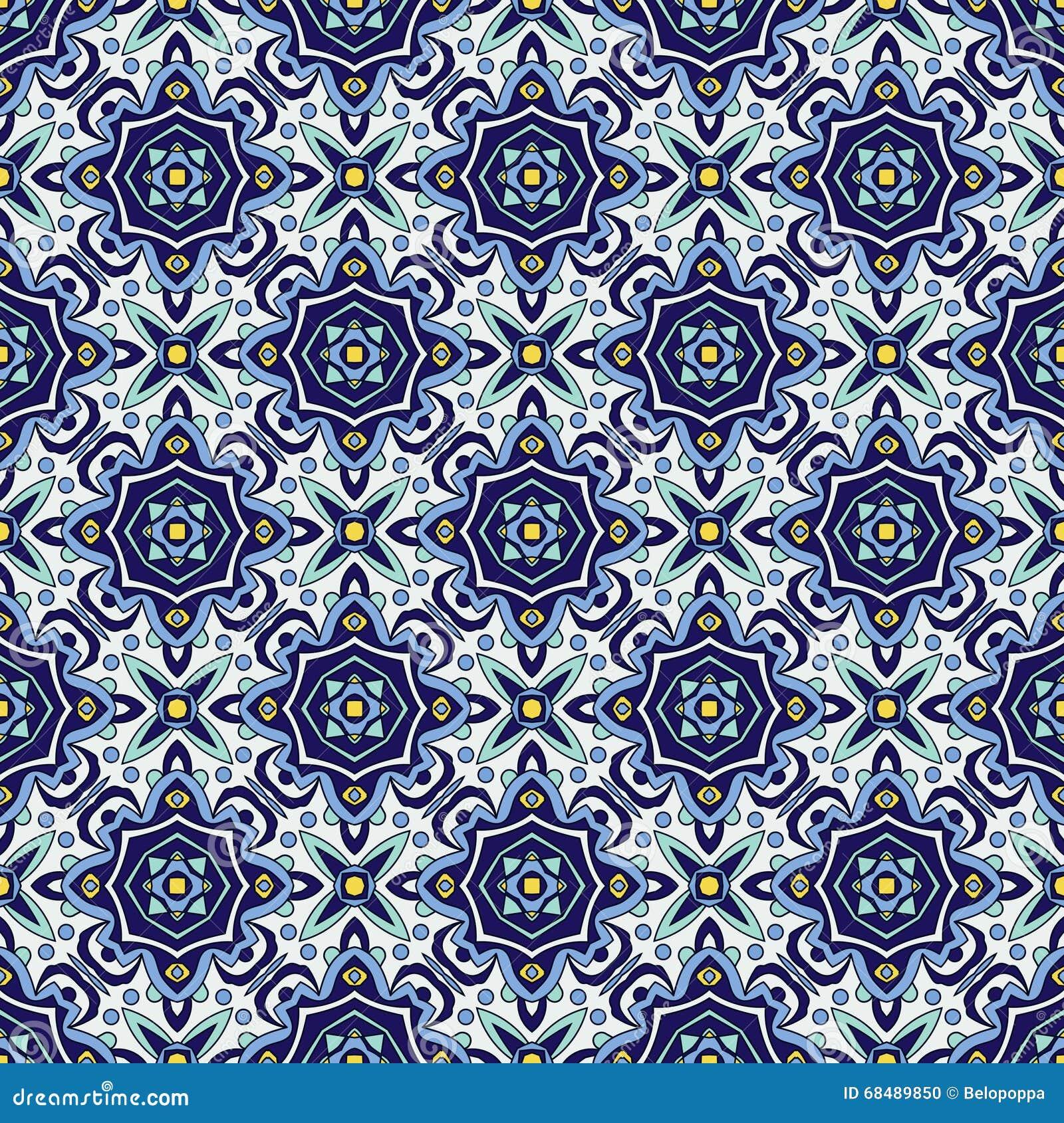 Azulejos portugueses tradicionais do ornamento azul Teste padrão sem emenda oriental