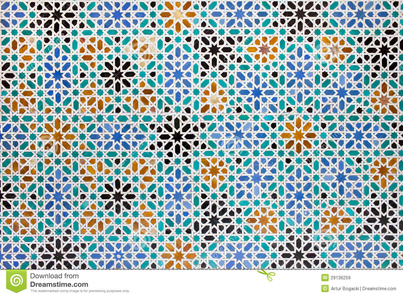 Azulejos Tiles In Mudejar Style Background Stock Image