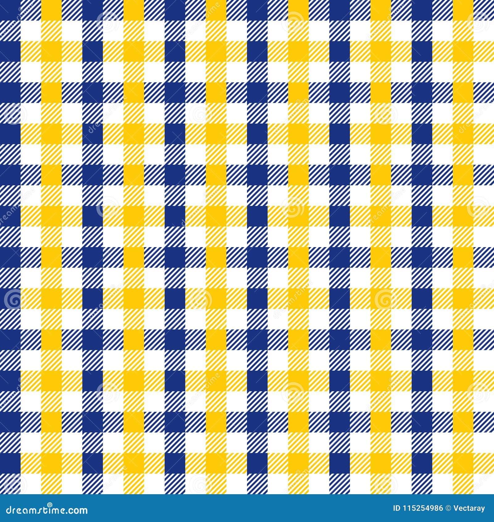 Azules marinos inconsútiles del vintage y textura a cuadros amarilla del fondo del modelo de la tela