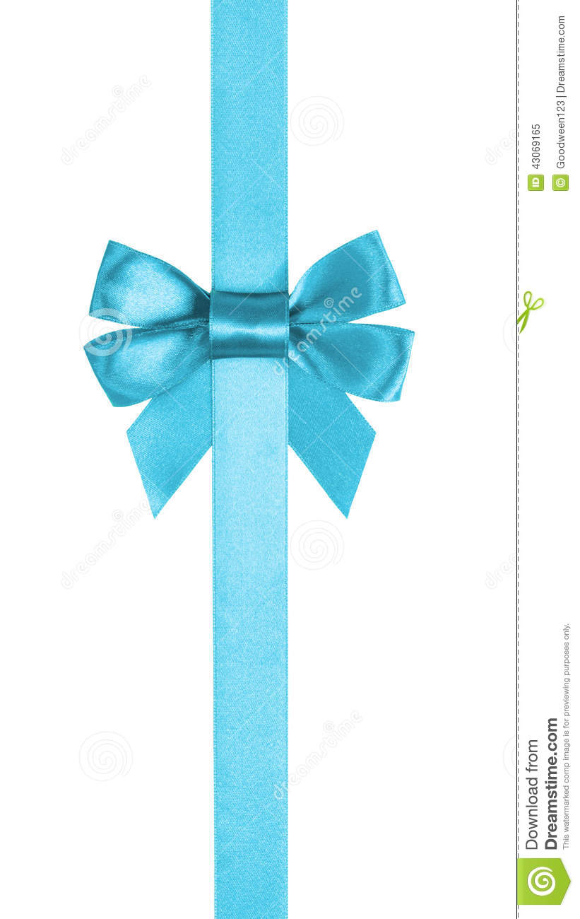 Azure Blue Ribbon Bow Vertical Border Stock Photo - Image: 43069165