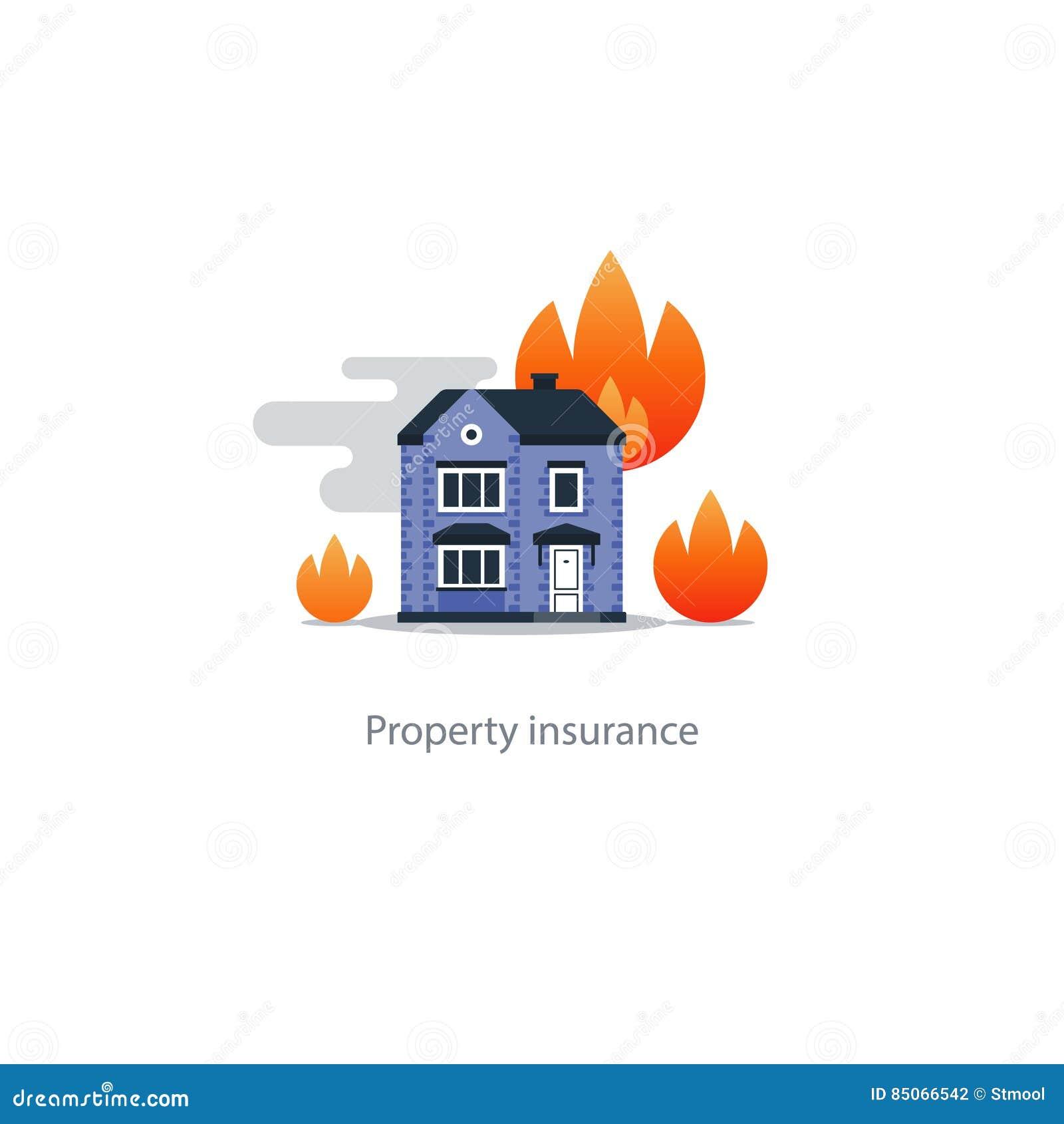 b timent br lant assurance incendie incendie concept de s curit ic ne de maison illustration. Black Bedroom Furniture Sets. Home Design Ideas