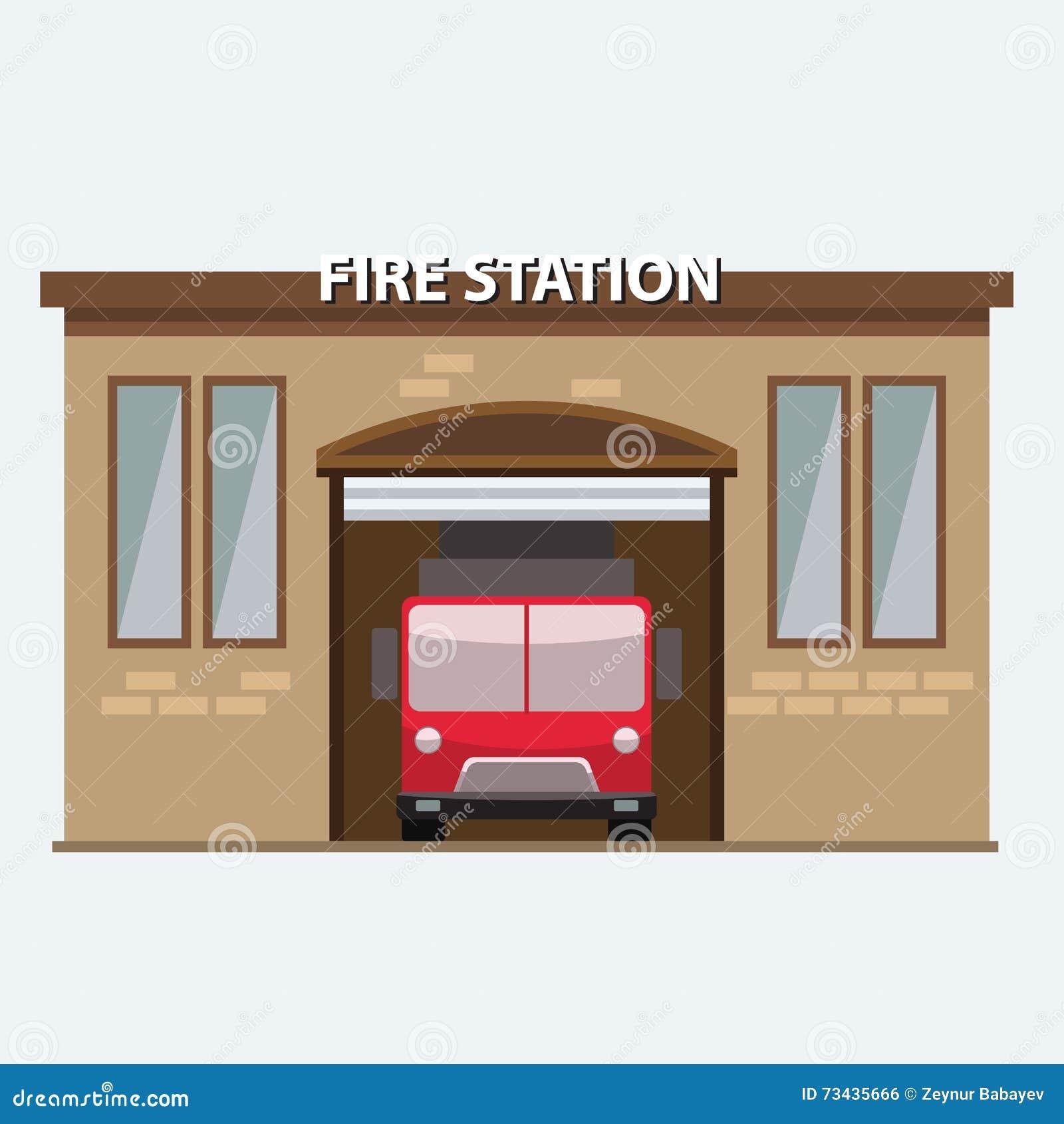 Bâtiment De Caserne De Pompiers Avec Une Voiture De Camion Dans Le