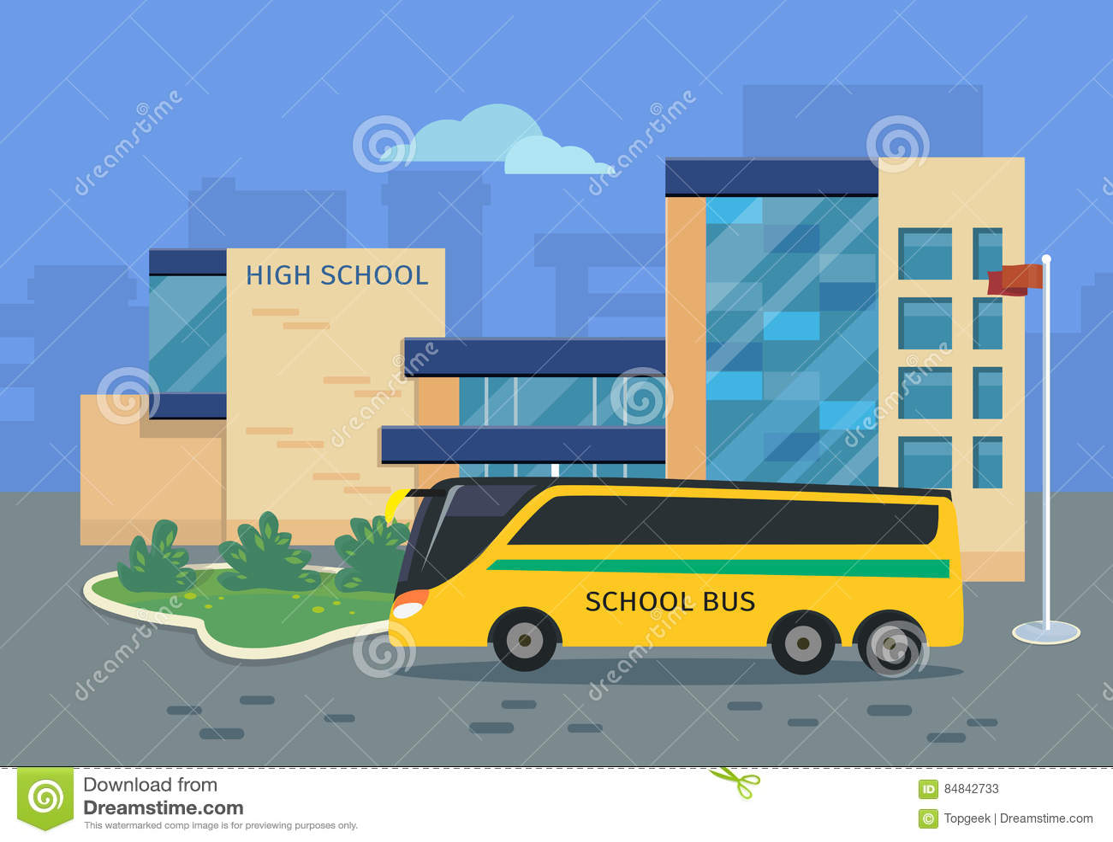 Bâtiment de lycée avec l illustration jaune d autobus