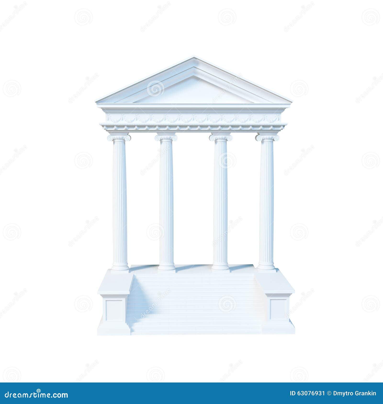 Download Bâtiment Grec D'architecture D'isolement Sur Le Fond Blanc 3d Ren Illustration Stock - Illustration du grec, côté: 63076931