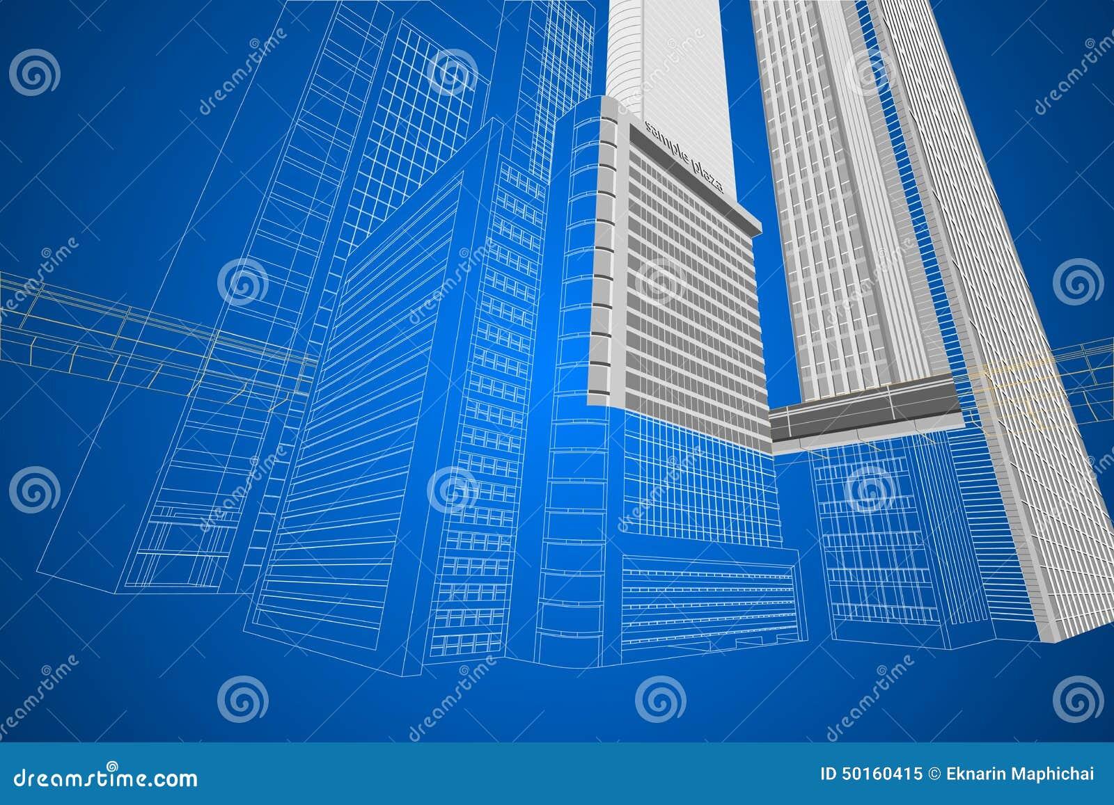 Bâtiment moderne de wireframe dimensionnel