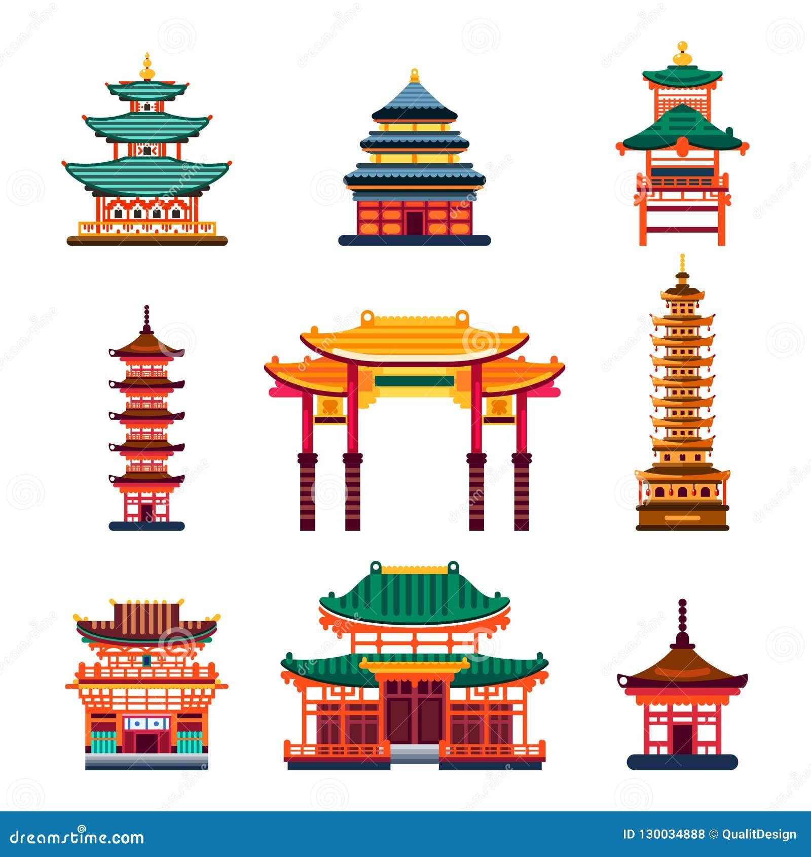 Bâtiments chinois colorés illustration d isolement plate de vecteur maison traditionnelle de pagoda de ville