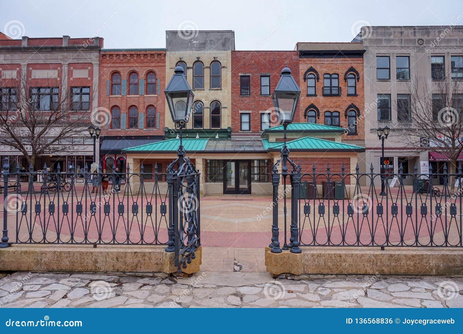 Bâtiments historiques colorés à Springfield, l Illinois