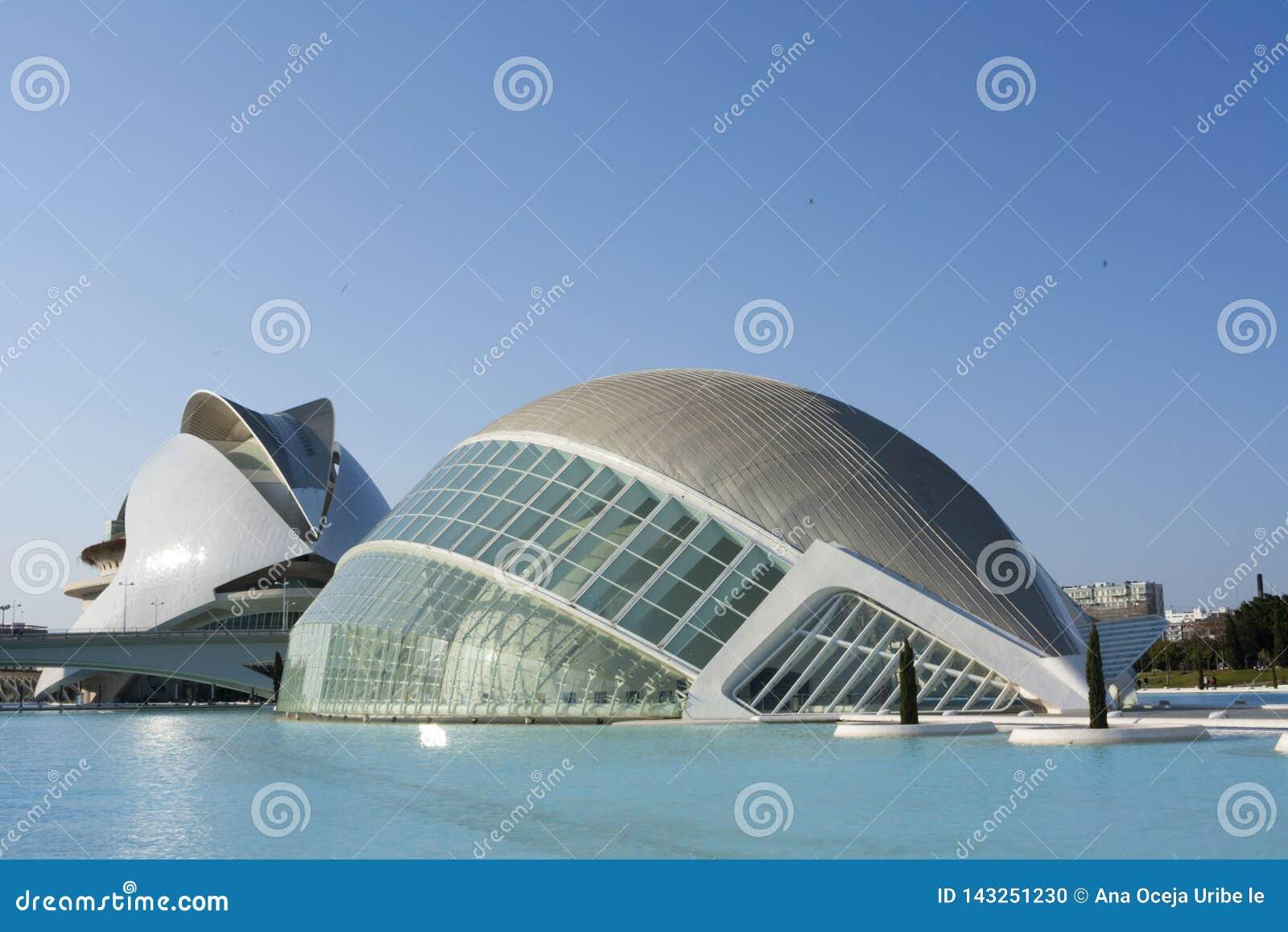 Bâtiments spectaculaires dans la ville des arts et des sciences