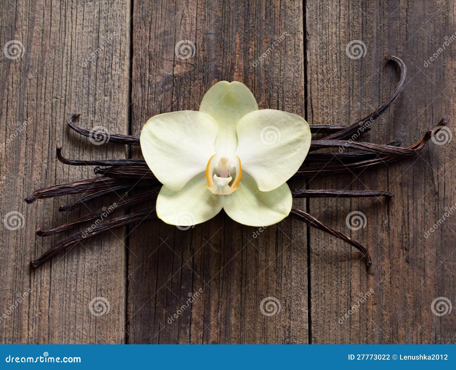 Bâtons et fleur de vanille sur le bois