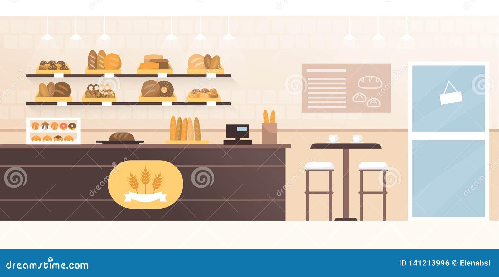 Bäckereigeschäft und -cafeteria mit Innenraum des frischen Brotes