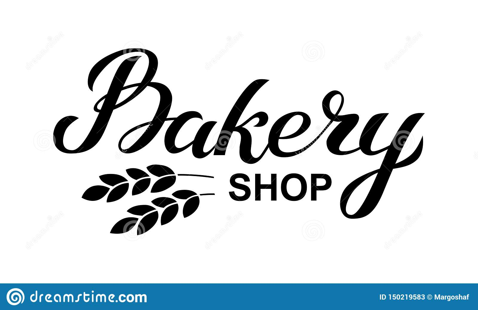 Bäckereigeschäfts-Logokarte Typografiehandgezogene Vektorillustration, Plakat mit den Ohren des Weizens Fahnenschablone