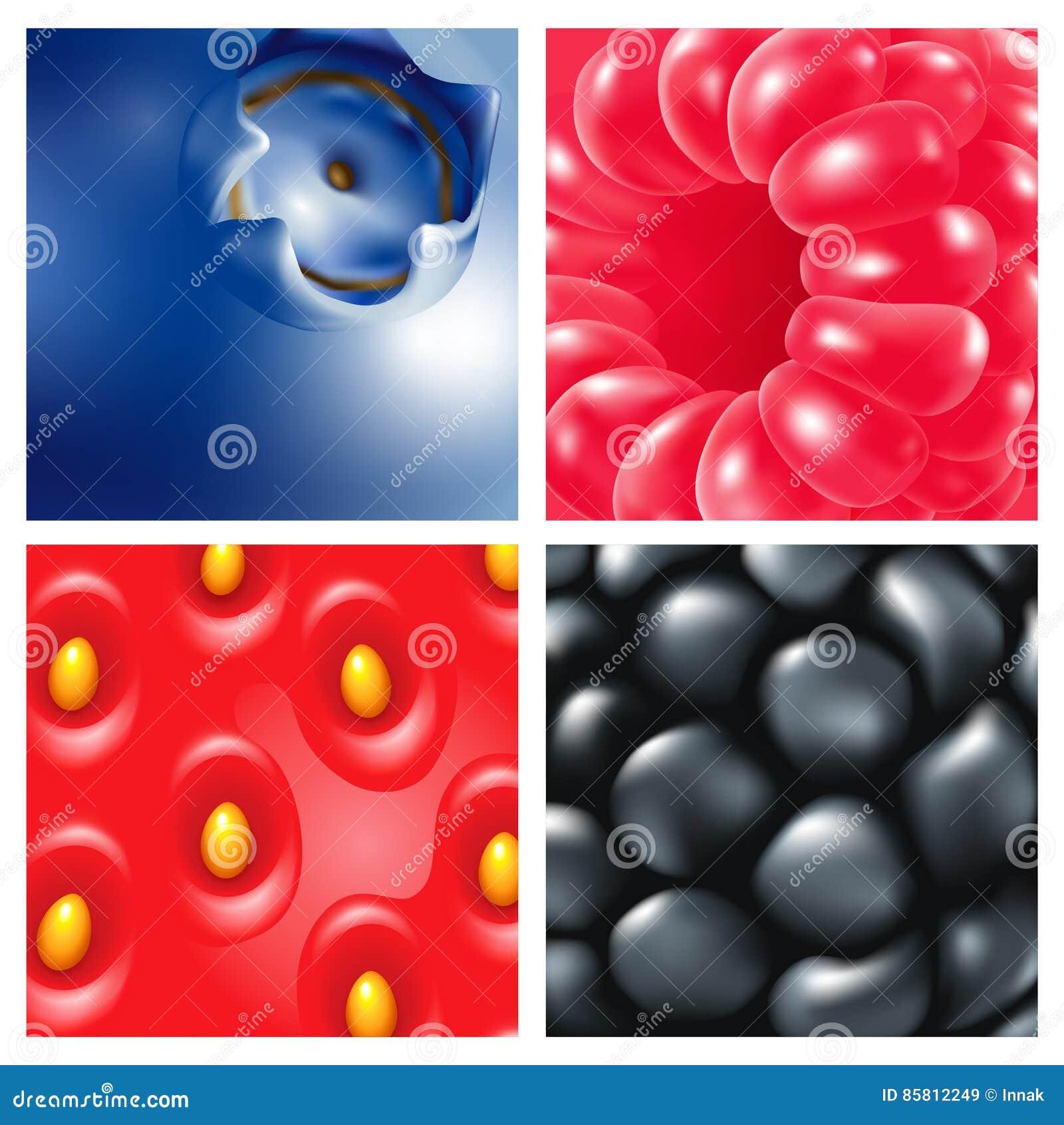 Bär Närbild Hallon blåbär, björnbär, jordgubbar hav för close för bakgrundsbärbuckthorn upp
