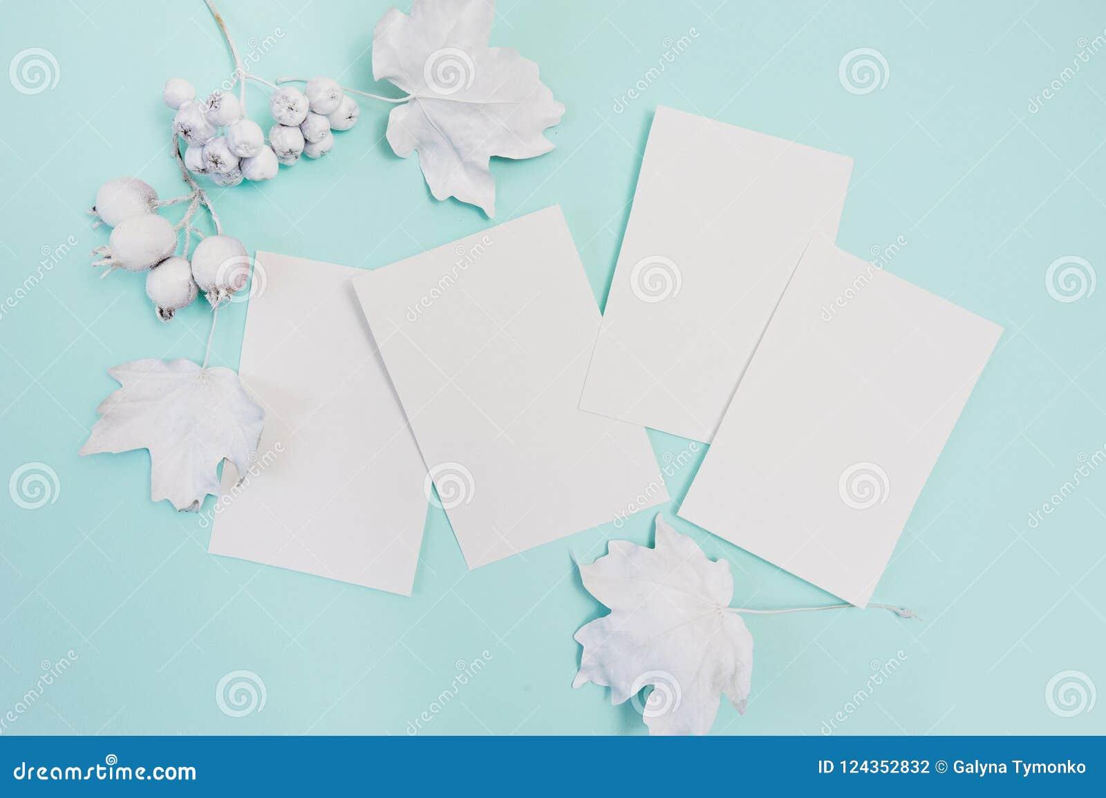Bär och sidor med den vita rammodellen på en pastellfärgad bakgrund för turkoshöst med vita ark av papper hälsning